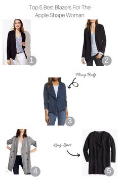 Top 5 Best Blazers for the Apple Shape Woman Apple Body Fashion, Apple Shape Fashion, Apple Body Shape Outfits, Dresses For Apple Shape, Apple Body Shapes, Best Blazer, Casual School Outfits, Fashion Capsule, Classic Outfits