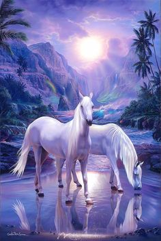Peaceful Moment - Horse Wallpaper Mural by Magic Murals Pretty Horses, Beautiful Horses, Animals Beautiful, Cute Animals, Unicorn Pictures, Horse Pictures, Nature Pictures, Fantasy Pictures, Nature Paintings
