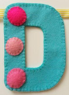 'D' of spotty 'Happy Birthday' hand sewn banner