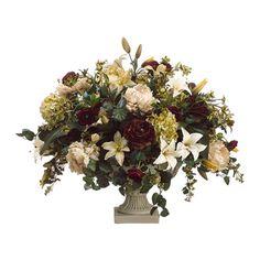 Lily Peony Hydrangea and Ranunculus Silk Flower Arrangement