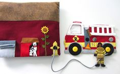 Felt Fire Station Quiet Book: fire truck, Dalmatian, two firefighters, kitchen/office, garage/locker room. Wow!