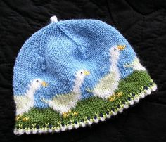 Ravelry: Olga-the-goose hat pattern by Christine de Savoie Baby Hats Knitting, Fair Isle Knitting, Knitting Charts, Knitting For Kids, Baby Knitting Patterns, Knitting Projects, Crochet Projects, Knitted Hats, Crochet Patterns
