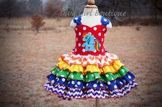 Rainbow Dash Dress - My Little Pony - Birthday Dress - Pageant Dress - Girls Boutique - Rainbow Birthday Party - Boutique Hair bow