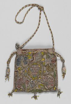 Purse, early 17th century English Canvas worked with silk and metal thread, glass beads, spangles; Gobelin, tent, and detached buttonhole stitches