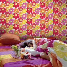 Marimekko  Pieni Unikko II Wallpaper Pink/Orange - KIITOSlife
