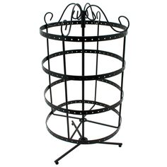 Rotating Metal Earring Stand $12.98 Holds 96 pairs of earrings. This round display works well for nearly all types of earrings, including post, fish hook, and french-style. Place earrings into holes on display in the order desired. Stand rotates for easy viewing, and the elegant design of this display makes it a beautiful addition to a jewelry counter or display table.