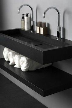 vasque noire salle de bain moderne