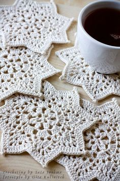 Crochet coasters set of 5 STAR Crochet lace coasters by tatajashma #glovahome #homedecor #crochetcoasters https://www.etsy.com/listing/230555608/crochet-coasters-set-of-5-star-crochet?ref=shop_home_listings