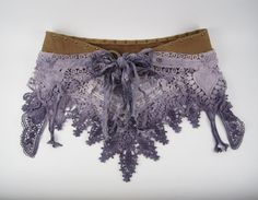 Dusty Lavender Hand Dyed Lace/Crochet & Studded Leather
