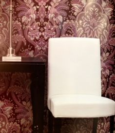A lovely modern damask with deep purple and white.