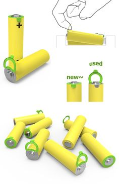 Interactive pull-up tag to indicate used batteries.