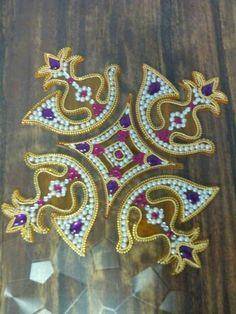 Kundan rangoli Designs Rangoli, Rangoli Ideas, Baby Boy Shower, Baby Showers, Suitcase Decor, Beaded Mirror, Colored Sand, Stone Work, Acrylic Material