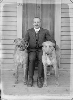 Outdoors portrait of unidentified man with large moustache in striped suit sitting on veranda of wooden house with two large dogs, probably Christchurch region