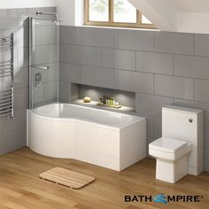 Looking for a great range of L shaped bathroom suites? We have the perfect L shaped bath for you with a range of sizes & styles including L shaped shower baths! P Shaped Bath, L Shaped Bathroom, Small Bathroom, Bathroom Stuff, Bathroom Ideas, Bathroom Renos, Bathroom Remodelling, Bath Panel, Traditional Baths