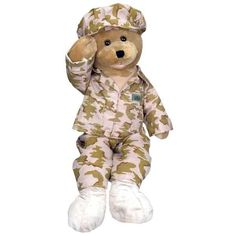 Oh so Amiable and Cuddly Military Teddy Bear! This American Hero GI Bear Plushie is wearing Desert Camo combat uniform, and American Flag (Right Facing Fla Dance Crafts, Dancing Animals, Fancy Cats, Desert Camo, Kids Toys, Singing, Plush, God, Teddy Bears