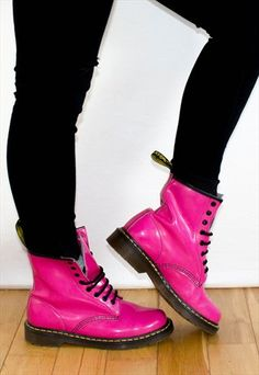 90's Style Hot Pink Patent  Lace Up Bounce Sole Dr Martens
