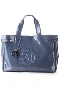 Armani Jeans Patent Logo Women's Shoulder Bag Grey
