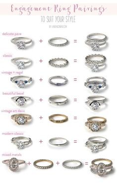 Diamond Wedding Rings 7 Different Engagement Wedding Band Pairings // Find your perfect ring pairing with Team LC and James Allen - Read on to see seven of our favorite engagement and wedding ring sets… Wedding Rings Simple, Wedding Rings Vintage, Wedding Ring Bands, Wedding Jewelry, Wedding Ring Styles, Disney Wedding Rings, Mismatched Wedding Bands, Wedding Rings Sets His And Hers, Types Of Wedding Rings