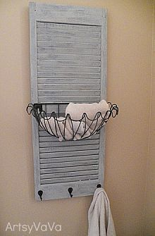 A brilliant use for an old shutter in your bathroom.