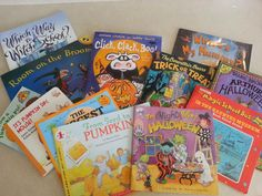 """Seriously need all these books! Perfect for planning a fun """"spooky but not"""" week for kiddos!"""