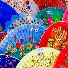 Fans in Seville, Spain ♥ ♥ I spent a lot of time looking for the perfect fan I could bring back and frame. When I unpacked, it was nowhere to be found. I have no clue where it went because I didn't check that in . Seville Spain, The Beautiful Country, Spain And Portugal, World Of Color, Andalucia, Over The Rainbow, Learn To Paint, Black And White Photography, Rainbow Colors