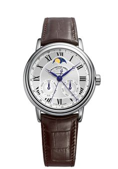 Maestro, Automatic Moon phase, Steel on leather strap silver dial day and month