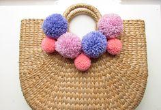 4 Yarn pom poms 3 - 8 cm. Handmade pompoms for sewing projects. jadetribe beach tote, tassel straw bag, panier de plage pompons. UK Seller by BrightonBabe on Etsy https://www.etsy.com/listing/273949170/4-yarn-pom-poms-3-8-cm-handmade-pompoms