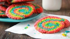 Blogger Brooke McLay from Cheeky Kitchen turns cookies into a truly colorful treat with these easy Rainbow Swirl Sugar Cookies.
