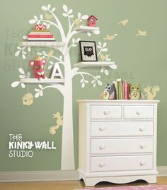 Shelf Tree Wall Decal Living room squirrel bird house by KinkyWall, $82.00