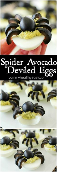Celebrate Halloween with Spooky Spider Avocado Deviled Eggs! Your party guests will love these creepy crawly olive spiders on top of ghoulishly green avocado deviled eggs! AD