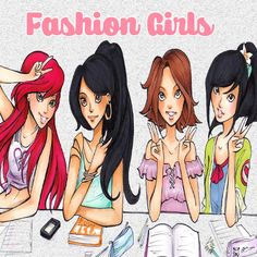 78 Fashion Girls  illustration Clip art -INSTANT DOWNLOAD -FOR cards, scrapbooking,digital art, printing, birthdays, party decor,invitation by Kyraslittleshop on Etsy