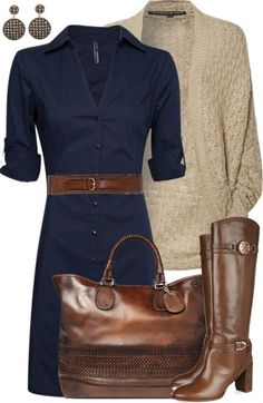 Cute for fall, love the dress but you have to have a waistline, love the boots and bag - Click image to find more Womens Fashion Pinterest pins