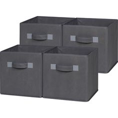 OneSpace - Foldable Cloth Storage Cube (4 Pack) - Gray, 50-CB4P04