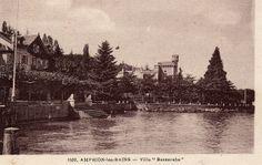 """Villa Bassaraba, Amphion-les-Bains. """"La villa Bassaraba est la propriété de la famille Bassaraba de Brancovan. Rachel de Brancovan, mère d'Anna de Noailles est le modèle de la marquise douairière de Cambremer. Elle a accueilli Marcel Proust à Amphion, en 1893. Le château de Féterne de madame de Cambremer est inspiré en partie de cette villa."""" By Yvette Gauthier"""