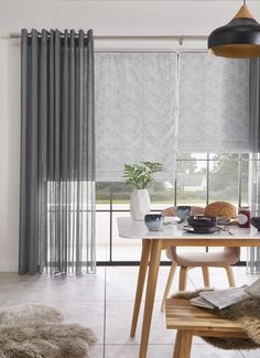 Love a simple grey colour scheme? Why not try combining Roman blinds with voile curtains to add texture to your interiors. Our Serene Grey voile curtains are the perfect choice! Curtains And Blinds Together, Curtains With Blinds, Wooden Window Blinds, Blinds For Windows, Grey Blinds, Shades Blinds, Bow Window Treatments, Vinyl Mini Blinds, Cheap Blinds