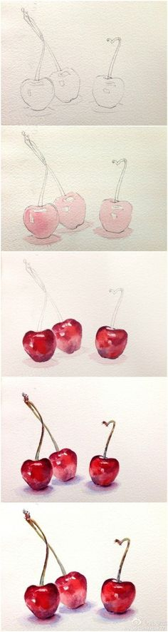 watercolor step by step cherry's                                                                                                                                                      More #watercolorarts