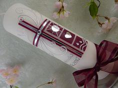 Taufkerzen - Taufkerze Kreuz - ein Designerstück von Lenz-Kerzen bei DaWanda Unity Candle, Pillar Candles, Voss Bottle, Water Bottle, Handmade Candles, Handmade Gifts, Baptism Candle, Original Design, Candle Making