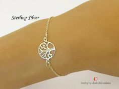 Silver Tree of Life Bracelet Sterling Silver Bracelet Skinny Dainty Bracelets, Handmade Bracelets, Sterling Silver Bracelets, Tree Of Life Bracelet, Thin Chain, Beautiful Gift Boxes, Thing 1, Skinny, Gold