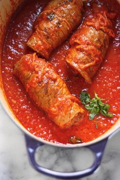 Sunday Suppers: Sicilian Braciole _ Braciole is a very lean cutlet of beef tenderized by many, many, maaaaaaany smashes from a heavy meat mallet. You can do this yourself or ask your butcher to do it for you. Just make sure it's niiiiice & thin. That's how it tastes like heaven!
