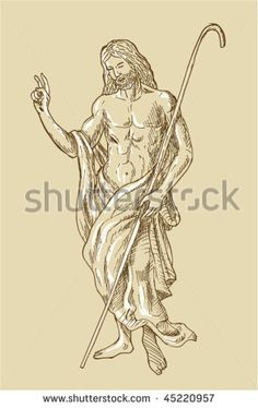 vector of a hand sketched drawing illustration of the Risen Resurrected Jesus Christ standing - stock vector #resurrection #sketch #illustration