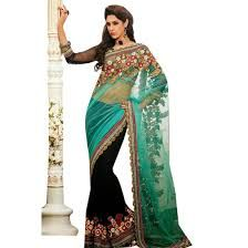 Feroza Black Net Georgette Half and half saree. label...
