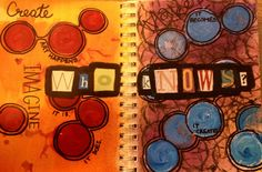 Art journal. Dylusions, acrylics, magazine cutouts and sharpie.