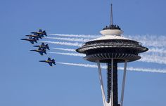 An awesome experience, watching the Blue Angels from the restaurant in the Space Needle (Seattle, WA)  !!!