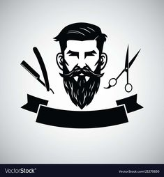 Barbershop logo template with hipster head Vector Image Hair Salon Interior, Salon Interior Design, Beauty Salon Design, Barber Poster, Barber Logo, Barber Man, Shop Logo, Logo Barbier, Logo Boutique
