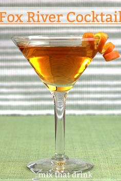 The Fox River Cocktail is bourbon based with a hint of chocolate, and bitters to blend it all together. It's an unusual flavor, but it can become addictive. Be sure to use a good, not great, bourbon.