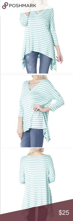 """Striped Top w/ Assymetric Hem & CrissCross Neck Very soft fabric; comfy and loose; Fabric Content: 95% RAYON 5% SPANDEX Model Measurements (in): Size S, height 5'7, bust 34, waist 23, hips 35 Flat Measurements: Small Shoulders are extended and wide in style; bust 20""""; Length 29"""" Medium Shoulders are extended and wide in style; bust 22""""; Length 29"""" Large Shoulders are extended and wide in style; bust 23""""; Length 29"""" Tops Blouses"""