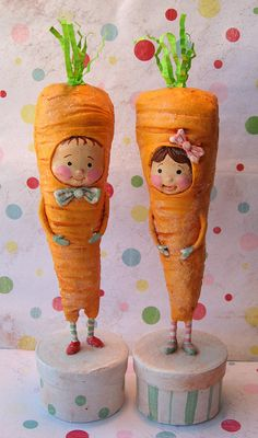 *PAPER CLAY ~ You are what you Eat Carrots by thepolkadotpixie