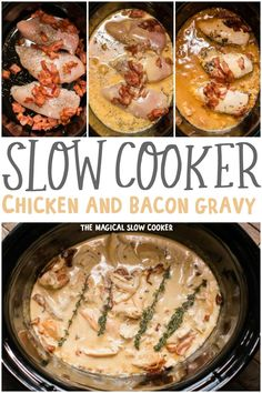 Slow Cooker Chicken with Bacon Gravy is a comforting but easy meal to make. We love this over mashed potatoes. - The Magical Slow Cooker #chickenrecipes #slowcookerrecipes Slow Cooked Meals, Crock Pot Slow Cooker, Crock Pot Cooking, Slow Cooker Chicken, Slow Cooker Recipes, Crockpot Recipes, Cooking Recipes, Healthy Recipes, Chicken Recipes