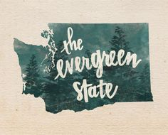 Washington state print by penmeetpaper on Etsy, $16.00