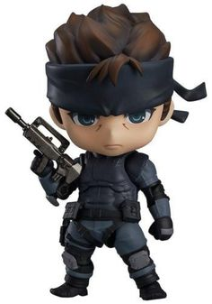 """Set Contents-Main figure-Base-Handgun-Assault rifle-Danboard box-Low polygon face partFrom """"METAL GEAR SOLID"""" comes a Nendoroid of the main character of the series, the infiltration specialist 'Solid Snake'! The rough look of his character has been preserved while still giving him the cuter appearance provided by the Nendoroid design!He is the first ever Nendoroid designed to be posed in a prone position, allowing you to display him sneaking around just like in the game!"""